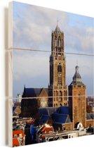 De domtoren in de Nederlandse stad Utrecht Vurenhout met planken 120x160 cm - Foto print op Hout (Wanddecoratie) XXL / Groot formaat!