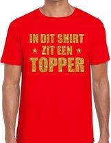In dit shirt zit een Topper goud glitter tekst t-shirt rood voor heren - heren Toppers shirts 2XL