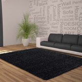 Hoogpolig shaggy vloerkleed 200x290cm antraciet - 5 cm poolhoogte