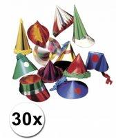Papieren feesthoedjes pakket 30 stuks