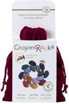 Crayon Rocks - ecologische niet giftige waskrijtjes, pengreep stimulerend - 16 kleuren in een rood zakje