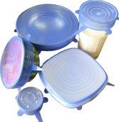 Spieringstore flexibele siliconen deksels - set van 6 - blauw