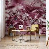 Fotobehang Luxury Ornamental Design Diamonds Pink | V8 - 368cm x 254cm | 130gr/m2 Vlies