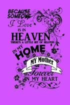 Because Someone I Love Is in Heaven There's a Little Bit of Heaven in My Home My Mother Forever in My Heart