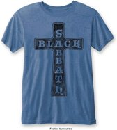 Black Sabbath - Vintage Cross heren unisex burn out T-shirt blauw - XL