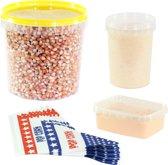 Popcornmais zoet en zout startpakket. Inhoud: 1,4 KG mais, popcorn suiker, popcorn zout en puntzakjes