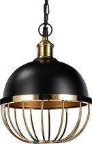 relaxdays hanglamp vintage - plafondlamp - Ø 25cm - industriële stijl - zwart en goud