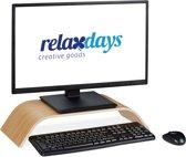 relaxdays monitorstandaard - bamboe - monitor verhoger - beeldscherm standaard - gebogen