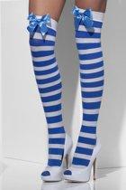 Blauw/wit gestreepte kniekousen met strikje