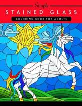 Simple Stained Glass Coloring Book for Adults