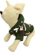 Camouflage shirt groen met muts voor de hond. - S ( rug lengte 23 cm, borst omvang 34 cm, nek omvang 26 cm )