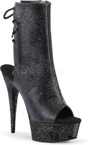 EU 40 = US 10   DELIGHT-1018MMG   6 Heel, 1 3/4 PF Open Toe/Heel Ankle Boot, Side Zip
