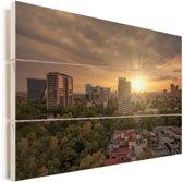 Zonnestralen schijnen over Mexico-stad Vurenhout met planken 90x60 cm - Foto print op Hout (Wanddecoratie)