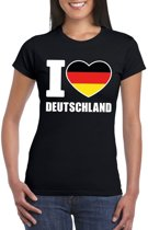 Zwart I love Duitsland fan shirt dames XS
