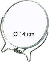Scheer- & Make-up Spiegel Ø 14 cm - Metaal - 1 kant 2X vergrotend.
