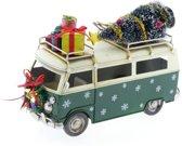Kerstdecoraties - Metalen Bus Groen 25x12x18cm