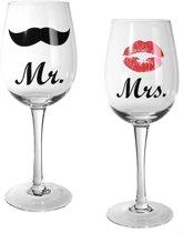 Mr & Mrs wijnglazen - 430 ml - 2 stuks