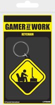 GAMER AT WORK - Rubber Keychain - Caution Sign