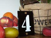 Emaille huisnummer zwart 8x12 nummer '4'