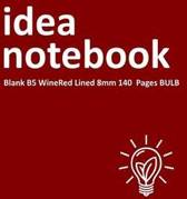 Idea Notebook Blank B5 Winered Lined 8mm 140 Pages Bulb