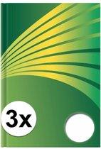 3x Luxe schrift A5 formaat groene harde kaft