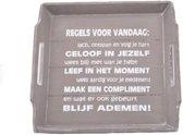 Houten Dienblad 31cm - ''Regels voor Vandaag'' - Kleur Taupe