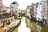 De Oude gracht in Utrecht, Nederland in olieverf look | stad, abstract, modern, sfeer | Foto schilderij print op Canvas (canvas wanddecoratie) | KIES JE MAAT