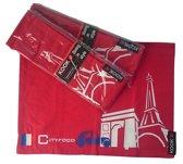 KOOK set van 4 katoenen placemats in rood met Paris-dessin