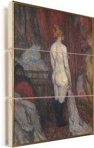 Woman before a mirror - Schilderij van Henri de Toulouse-Lautrec Vurenhout met planken 30x40 cm - klein - Foto print op Hout (Wanddecoratie)