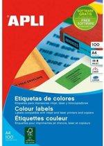 Apli Gekleurde etiketten formaat 105 x 37 mm (b x h) geel 1.600 stuks 16 per blad doos van 100 blad