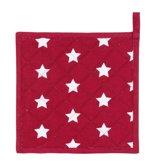 Clayre & Eef Pannenlap - rood met sterren - 25x25cm