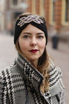 Hoofdband Winter Sparkle Zwart Gebreide haarband glitter