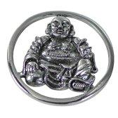 Quiges - Munthouder Munt 25mm Boeddha Zilverkleurig - EPRS036