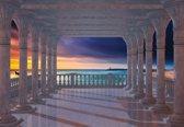 Fotobehang Sea View Through The Arches | XXXL - 416cm x 254cm | 130g/m2 Vlies