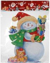 Kerst decoratie raamstickers 3D sneeuwpop 25 x 34 cm