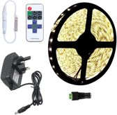 YWXLLight dimbare Light Strip Kit  SMD 2835 5m LED lint  waterdicht voor indoor  11key afstandsbediening LED strip lamp 300LEDs UK plug (warm wit)