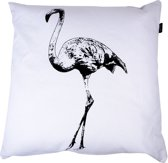 In The Mood Flamingo - Sierkussen - 50x50 cm - Ivoor Wit/Zwart