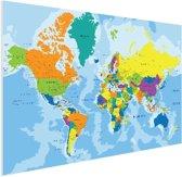 Wereldkaart kleuren poster (muur decoratie) groot 150x100 cm - Wereldkaarten.nl