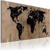 Canvas Schilderij - kaart van de Wereld, Zwart/Bruin, 2 Maten, 3luik