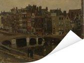 Het Rokin in Amsterdam - Schilderij van George Hendrik Breitner Poster 160x120 cm - Foto print op Poster (wanddecoratie woonkamer / slaapkamer) XXL / Groot formaat!