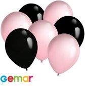 30x Ballonnen Zwart en Licht roze (Ook geschikt voor Helium)