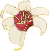 Behave® Dames broche bloem wit en rood - emaille sierspeld -  sjaalspeld