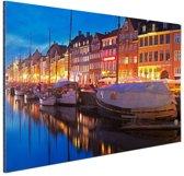 FotoCadeau.nl - Avond in Kopenhagen Aluminium 90x60 cm - Foto print op Aluminium (metaal wanddecoratie)