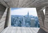 Fotobehang Window City New York Skyline Empire | XXL - 312cm x 219cm | 130g/m2 Vlies