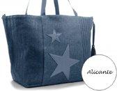 4e78c9e00b9 Stoere blauwe beach shopper - strandtas Alicante XL met sterren