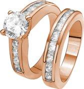 Eve Rose Plated 2 Delige Ring - Met Zirkonia - Maat 60