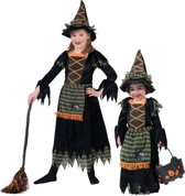 Heks & Spider Lady & Voodoo & Duistere Religie Kostuum | Lya De Heks | Meisje | Maat 140 | Halloween | Verkleedkleding