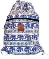 Rugtas Elephant Blue | T-Bags | 100% Katoen | 14 Liter | Wit & Blauw | Comfortabel