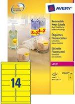 Avery Neon Etiketten, neon geel, 99,1 x 38,1 mm, afneembaar