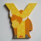 Sevi - houten dieren letter Y - geel